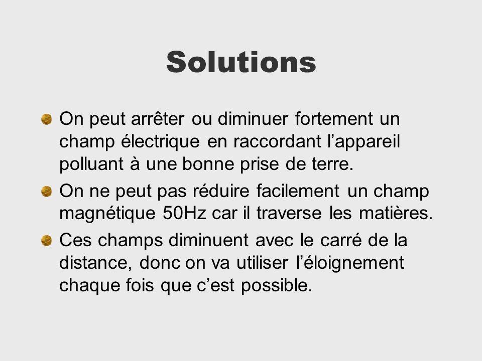 Solutions On peut arrêter ou diminuer fortement un champ électrique en raccordant l'appareil polluant à une bonne prise de terre.