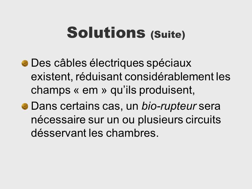 Solutions (Suite) Des câbles électriques spéciaux existent, réduisant considérablement les champs « em » qu'ils produisent,