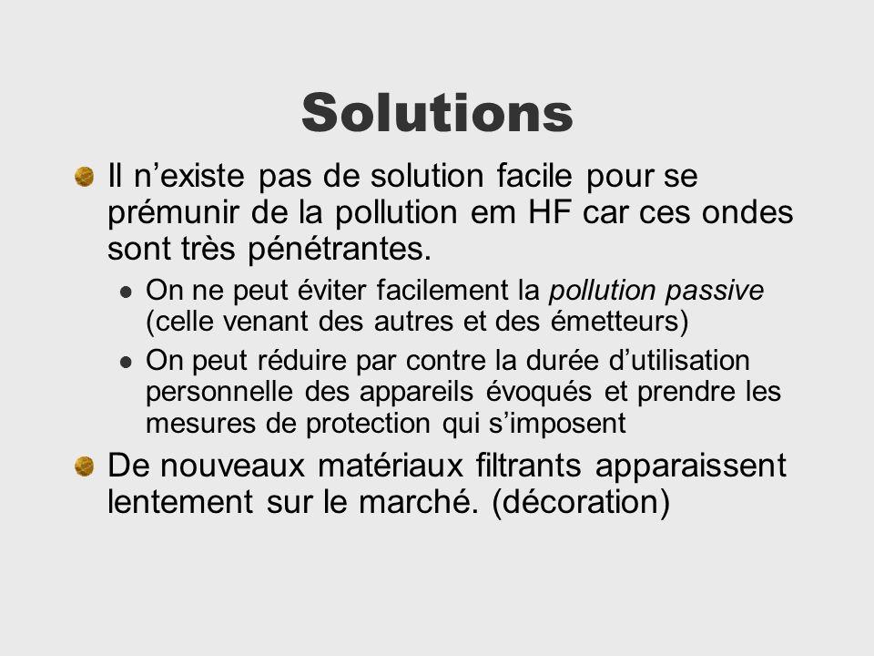 Solutions Il n'existe pas de solution facile pour se prémunir de la pollution em HF car ces ondes sont très pénétrantes.