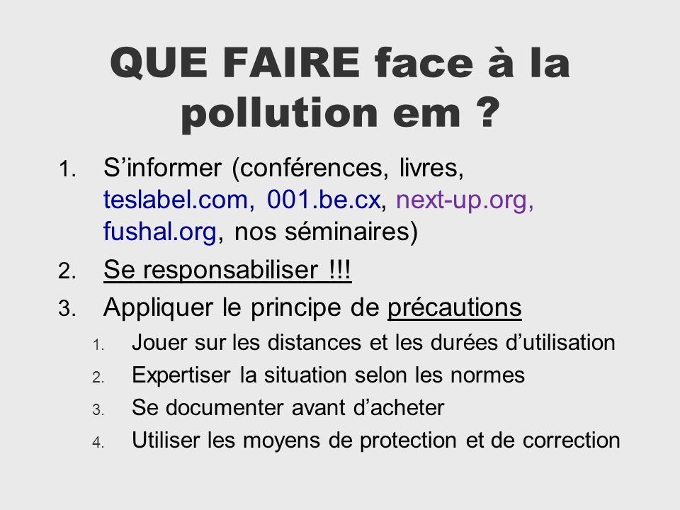 QUE FAIRE face à la pollution em