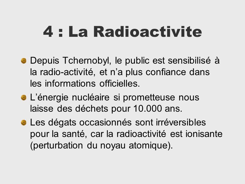 4 : La Radioactivite Depuis Tchernobyl, le public est sensibilisé à la radio-activité, et n'a plus confiance dans les informations officielles.