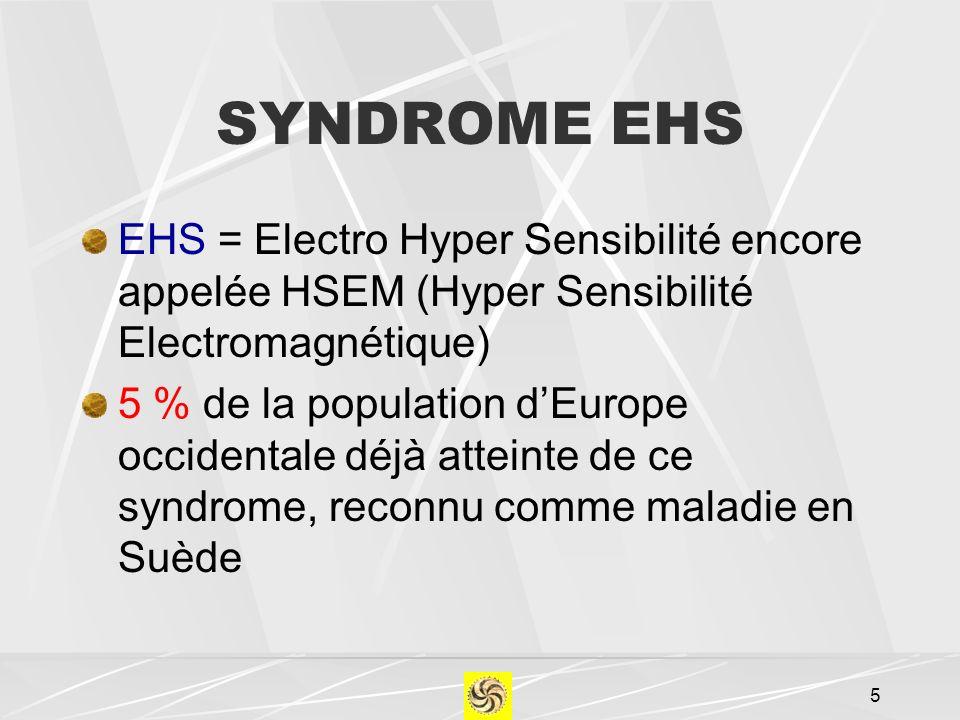 SYNDROME EHS EHS = Electro Hyper Sensibilité encore appelée HSEM (Hyper Sensibilité Electromagnétique)