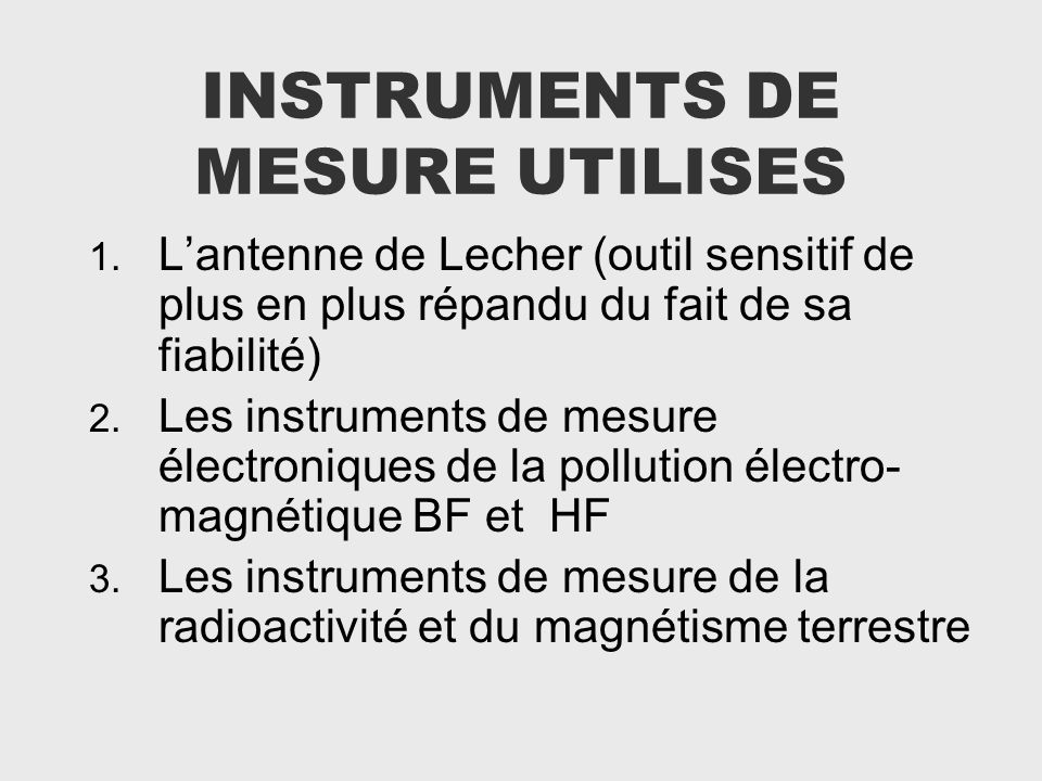 INSTRUMENTS DE MESURE UTILISES