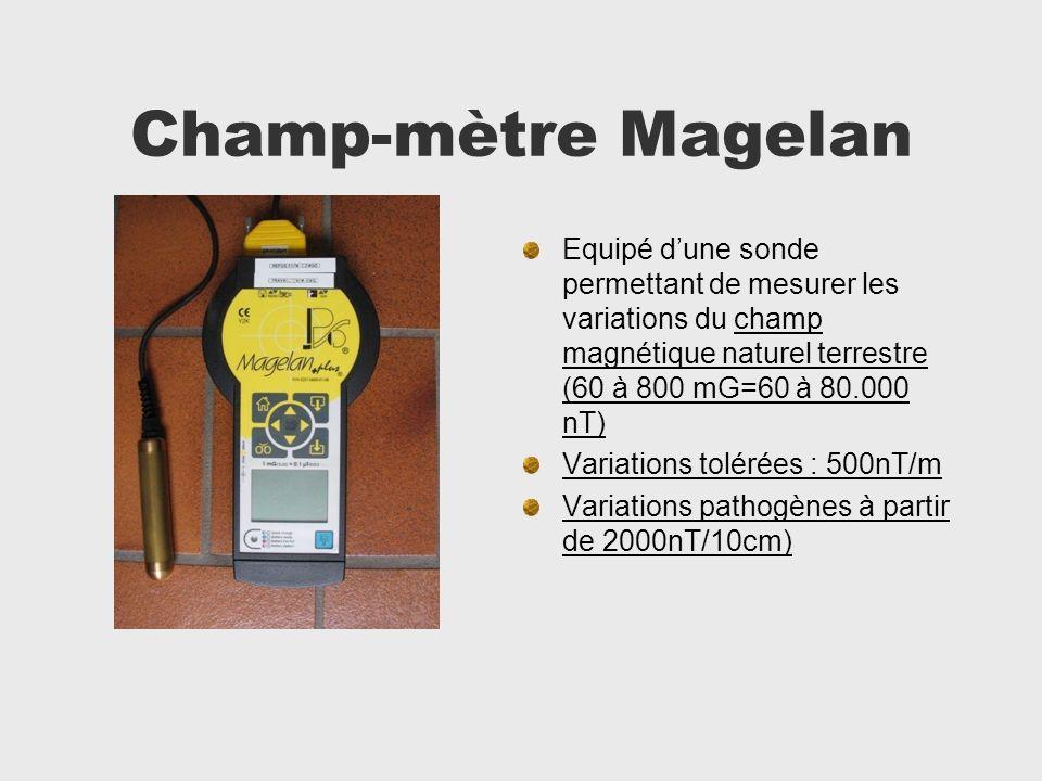 Champ-mètre Magelan Equipé d'une sonde permettant de mesurer les variations du champ magnétique naturel terrestre (60 à 800 mG=60 à 80.000 nT)