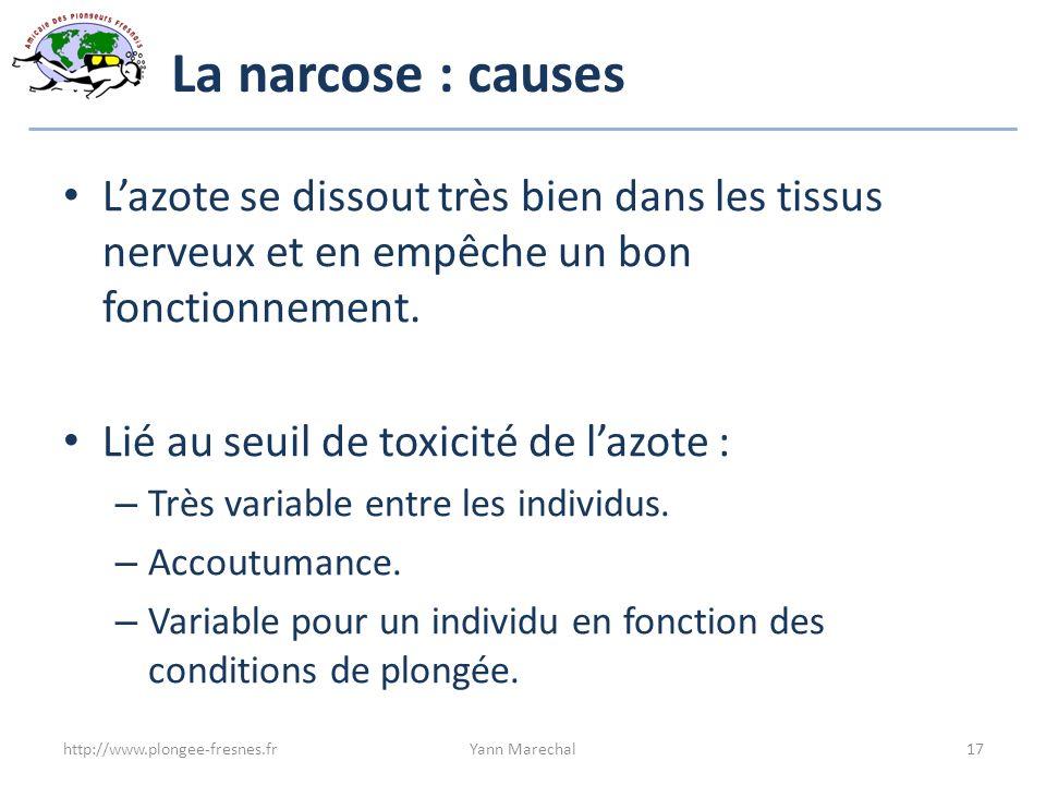 La narcose : causes L'azote se dissout très bien dans les tissus nerveux et en empêche un bon fonctionnement.