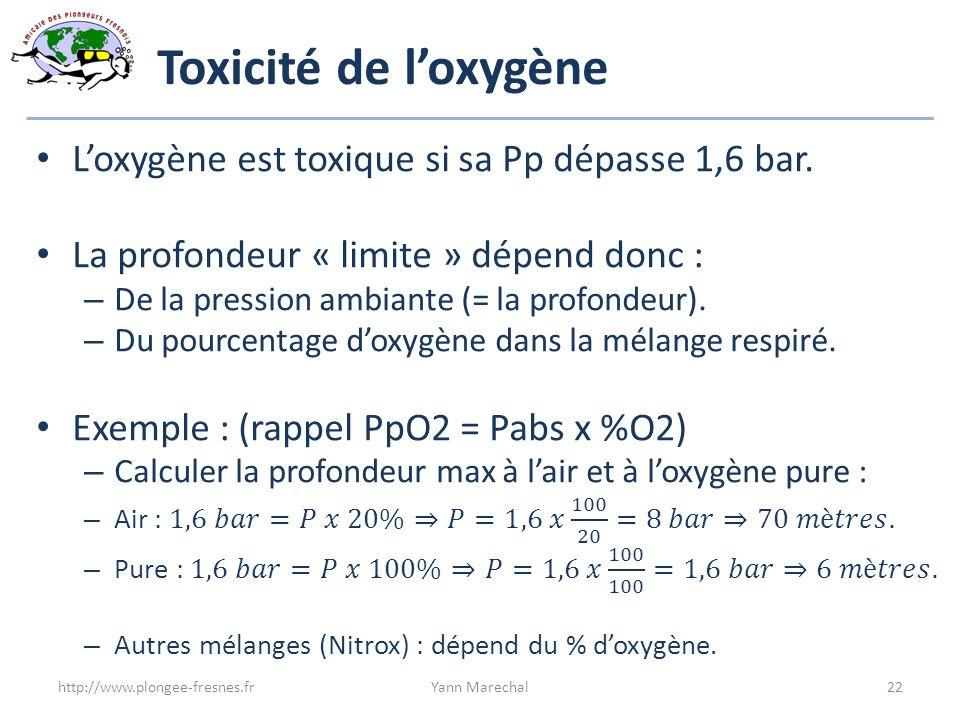 Toxicité de l'oxygène L'oxygène est toxique si sa Pp dépasse 1,6 bar.