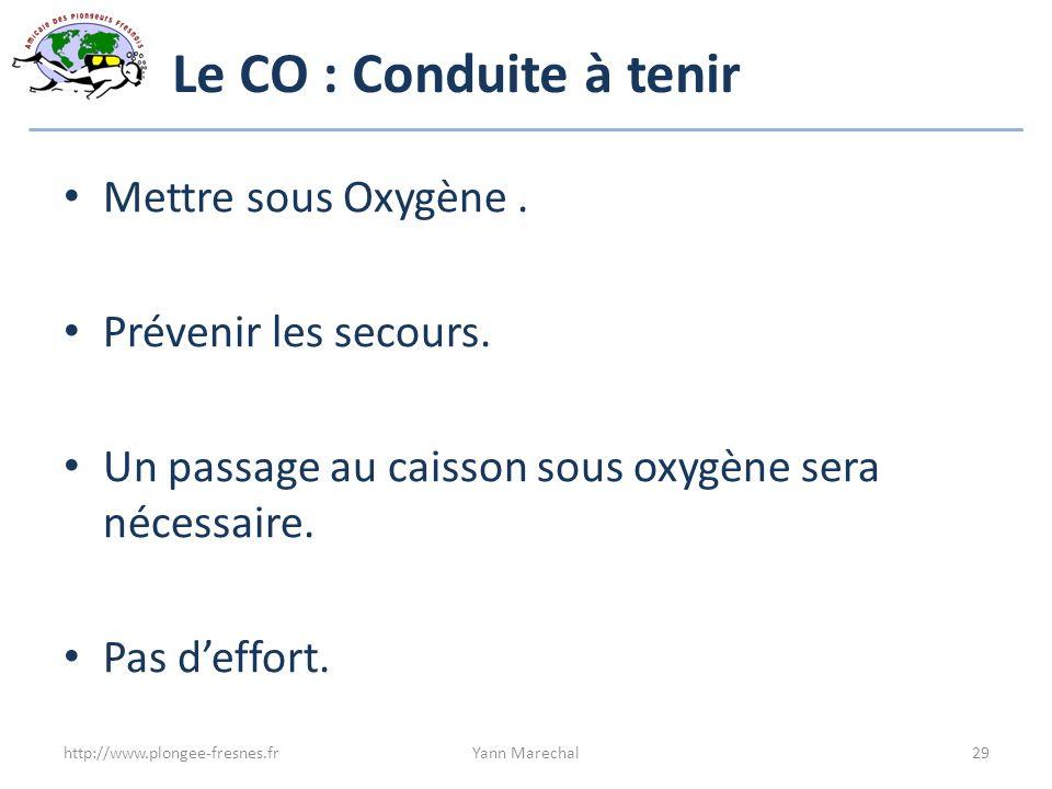 Le CO : Conduite à tenir Mettre sous Oxygène . Prévenir les secours.