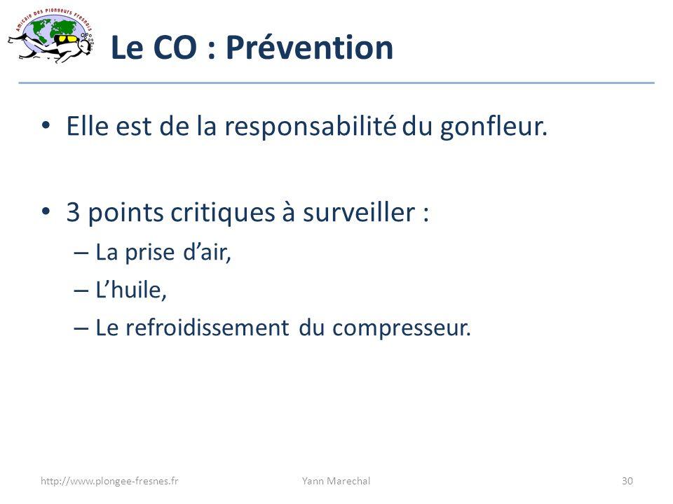 Le CO : Prévention Elle est de la responsabilité du gonfleur.