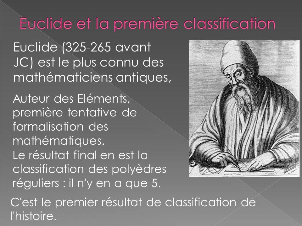 Euclide et la première classification