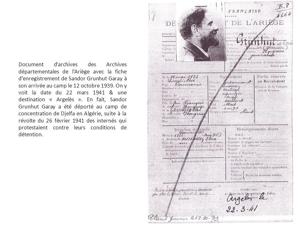 Document d'archives des Archives départementales de l'Ariège avec la fiche d'enregistrement de Sandor Grunhut Garay à son arrivée au camp le 12 octobre 1939.
