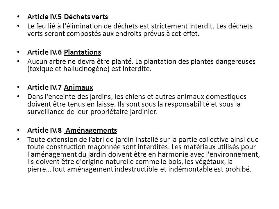 Article IV.5 Déchets verts