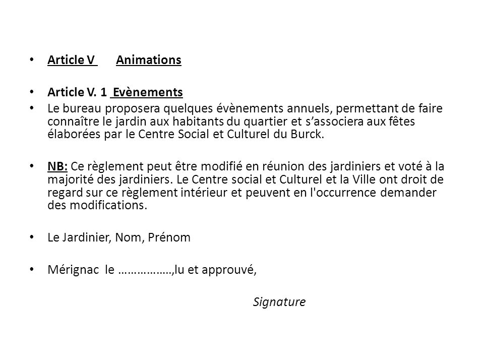 Article V Animations Article V. 1 Evènements.