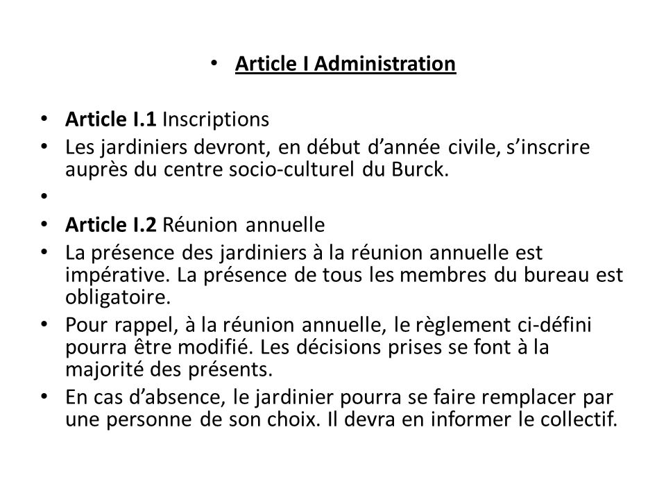 Article I Administration