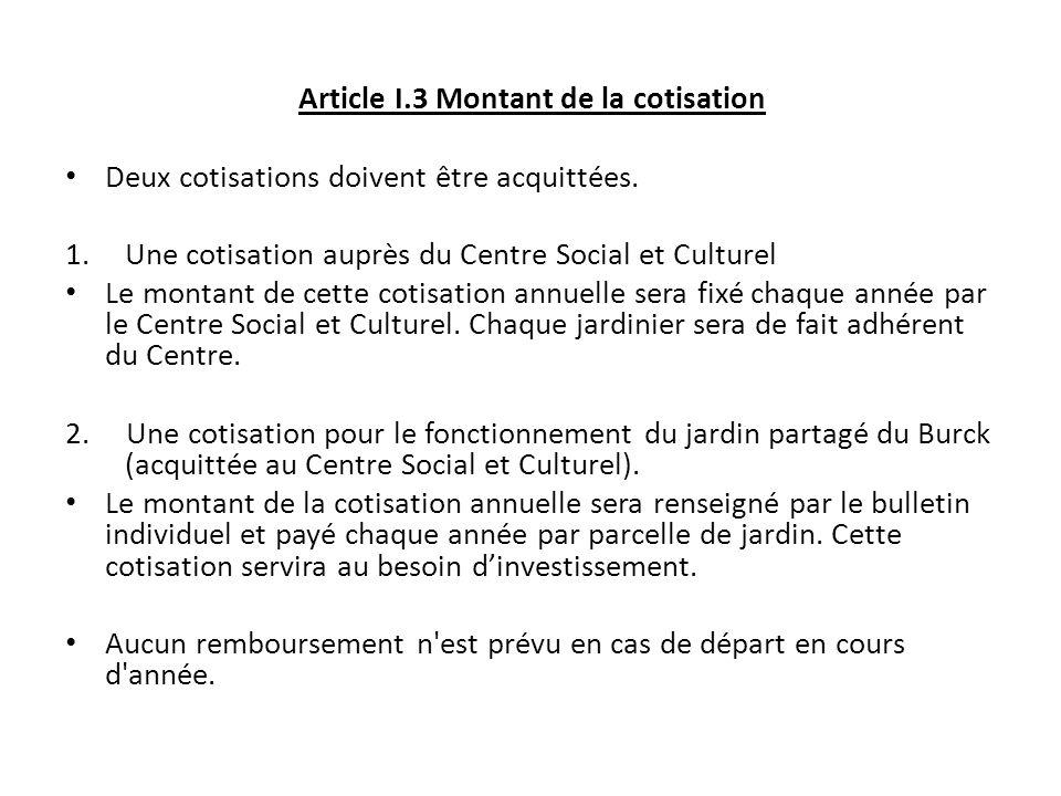 Article I.3 Montant de la cotisation