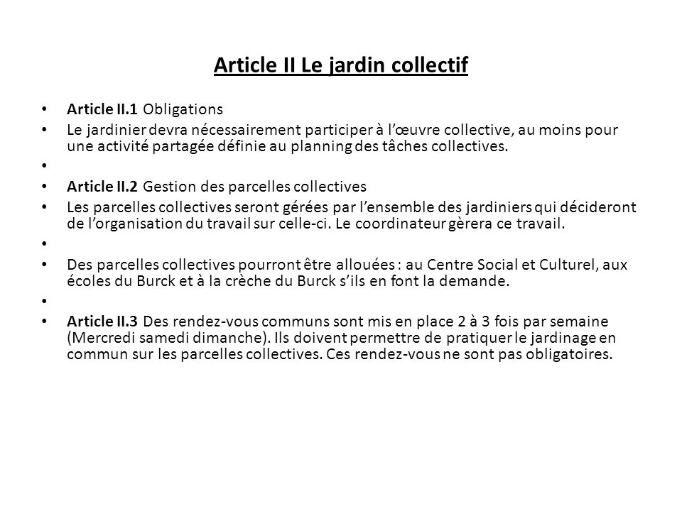 Article II Le jardin collectif
