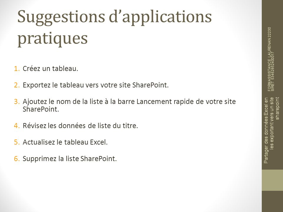 Suggestions d'applications pratiques