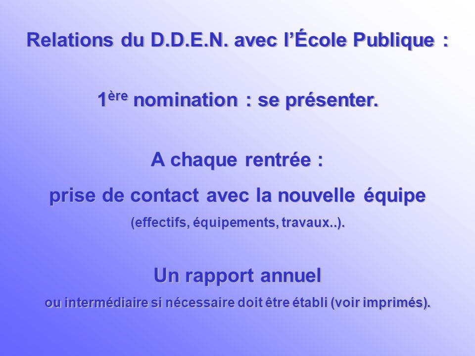 Relations du D.D.E.N. avec l'École Publique :