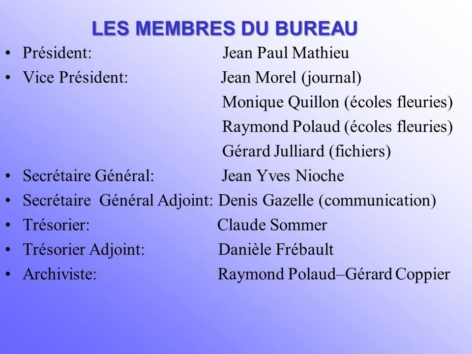 LES MEMBRES DU BUREAU Président: Jean Paul Mathieu