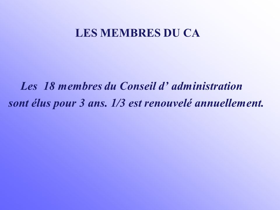 Les 18 membres du Conseil d' administration