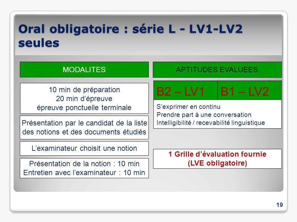 Oral obligatoire : série L - LV1-LV2 seules