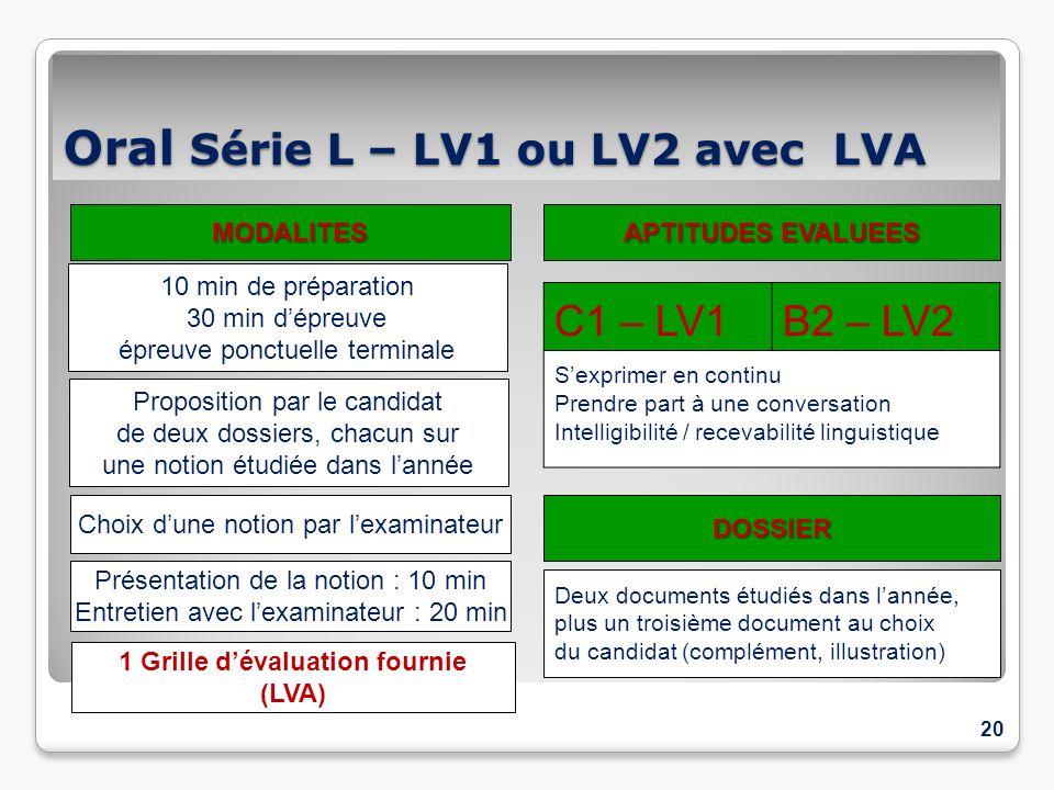 Oral Série L – LV1 ou LV2 avec LVA