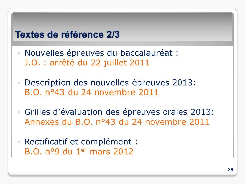 Textes de référence 2/3 Nouvelles épreuves du baccalauréat :