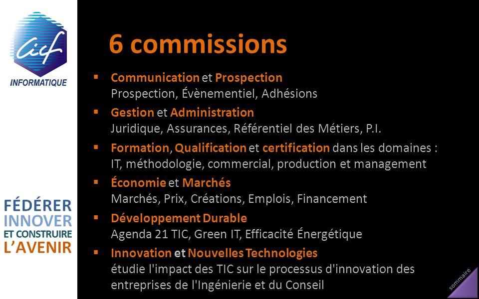 6 commissions Communication et Prospection Prospection, Évènementiel, Adhésions.