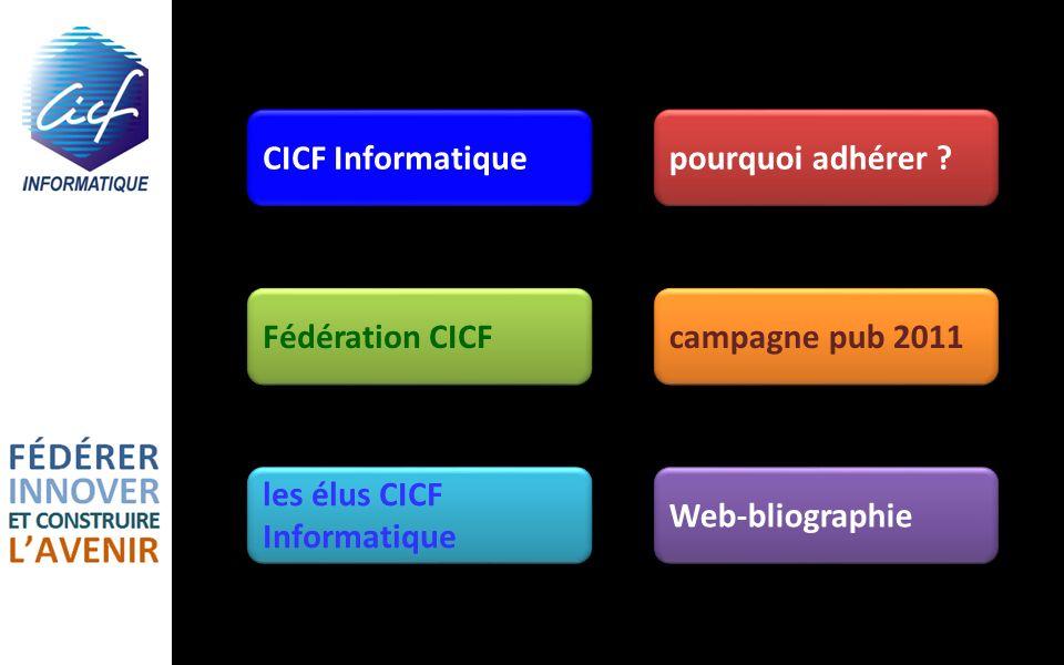 CICF Informatique pourquoi adhérer Fédération CICF. campagne pub 2011. les élus CICF Informatique.