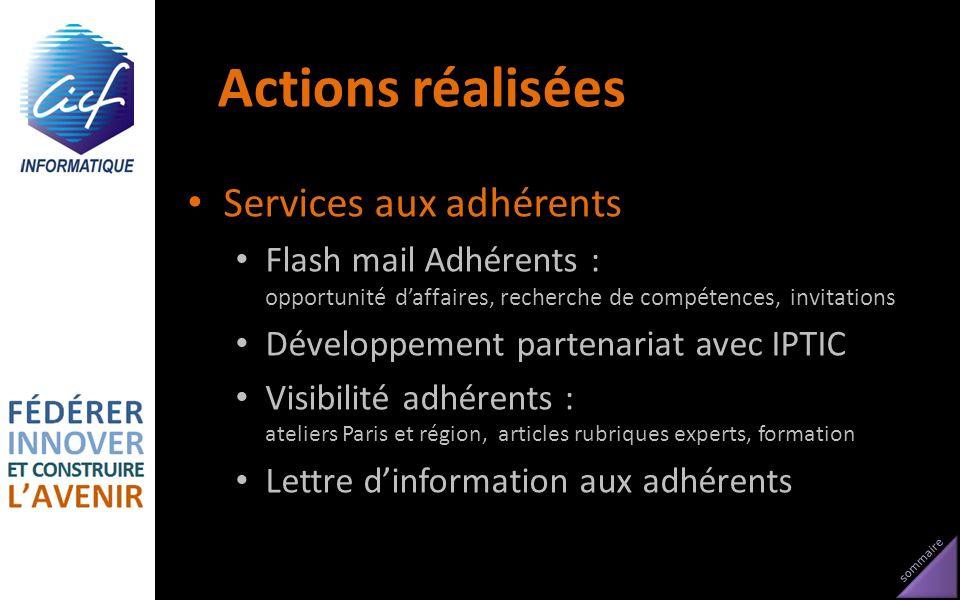 Actions réalisées Services aux adhérents