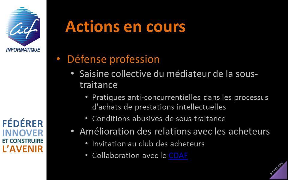 Actions en cours Défense profession