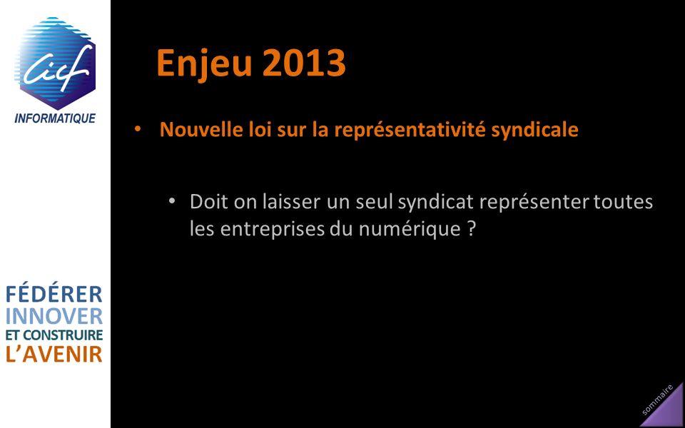 Enjeu 2013 Nouvelle loi sur la représentativité syndicale