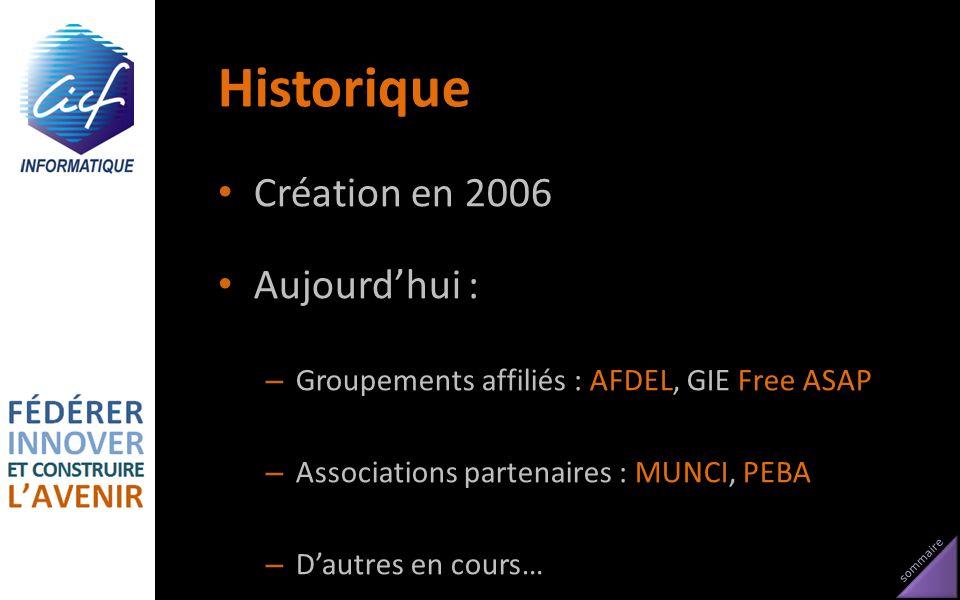 Historique Création en 2006 Aujourd'hui :