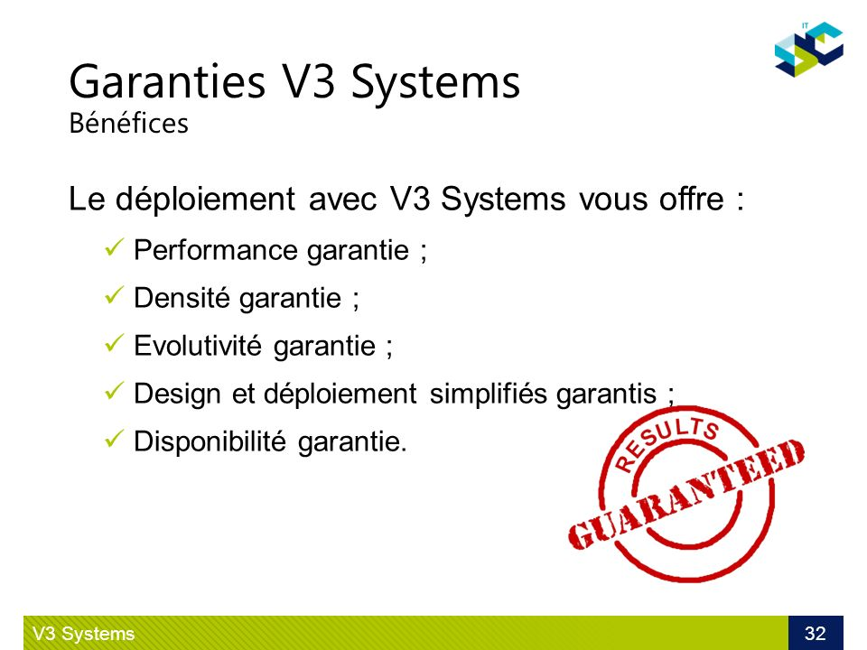Garanties V3 Systems Bénéfices