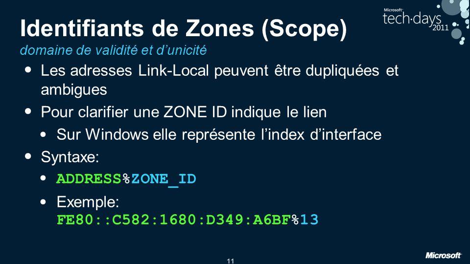 Identifiants de Zones (Scope) domaine de validité et d'unicité