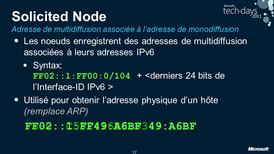Tech Ed North America 2010 3/30/2017 12:31 AM. Solicited Node Adresse de multidiffusion associée à l'adresse de monodiffusion.