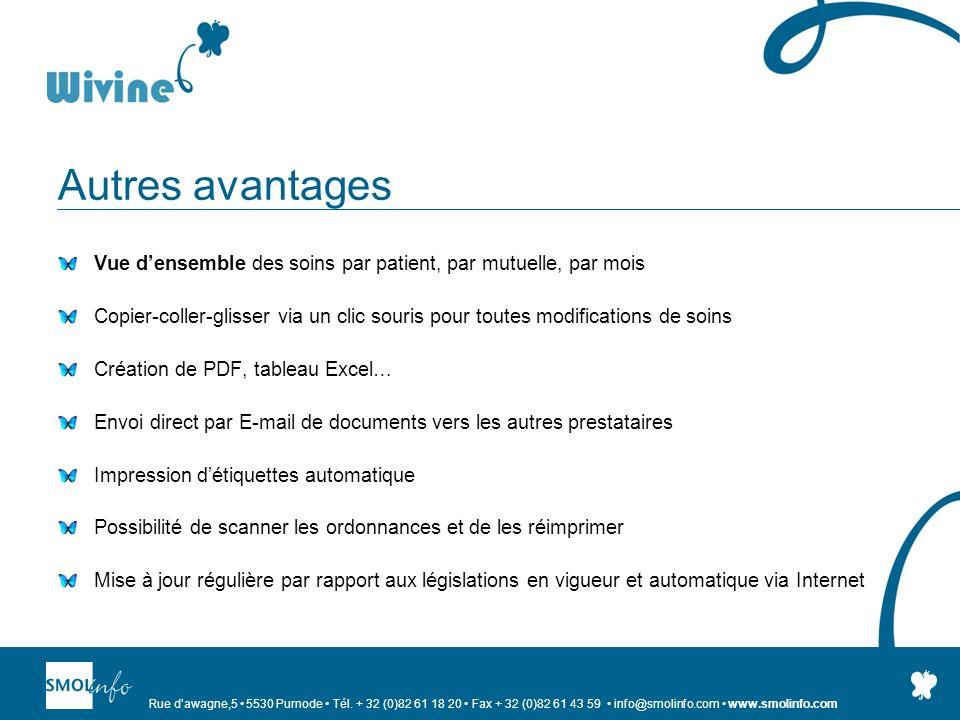 Autres avantages Vue d'ensemble des soins par patient, par mutuelle, par mois.