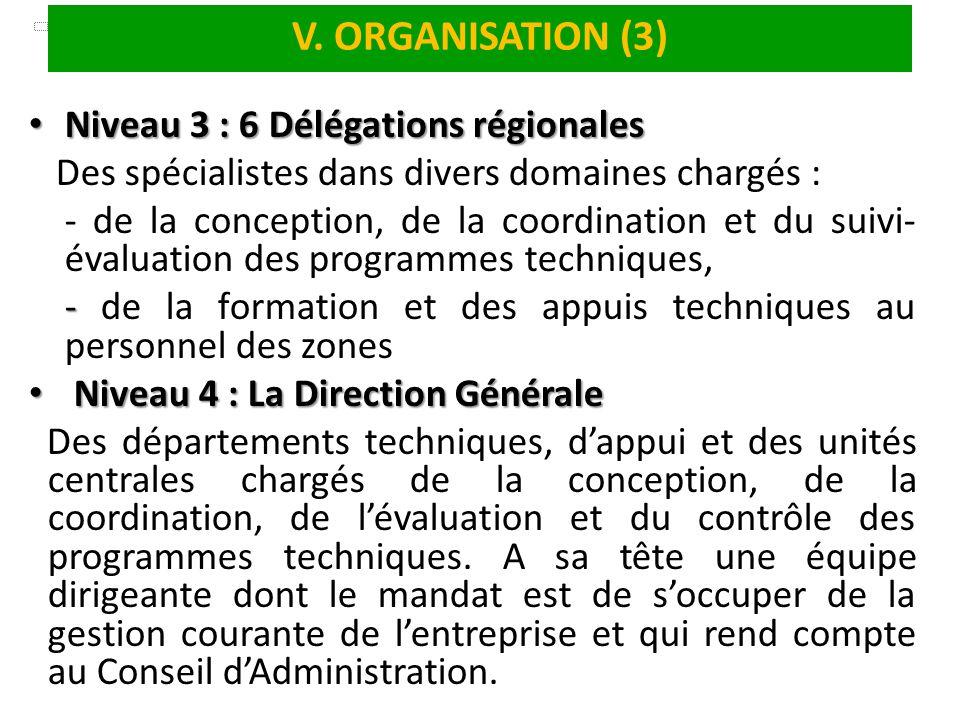 V. ORGANISATION (3) Niveau 3 : 6 Délégations régionales