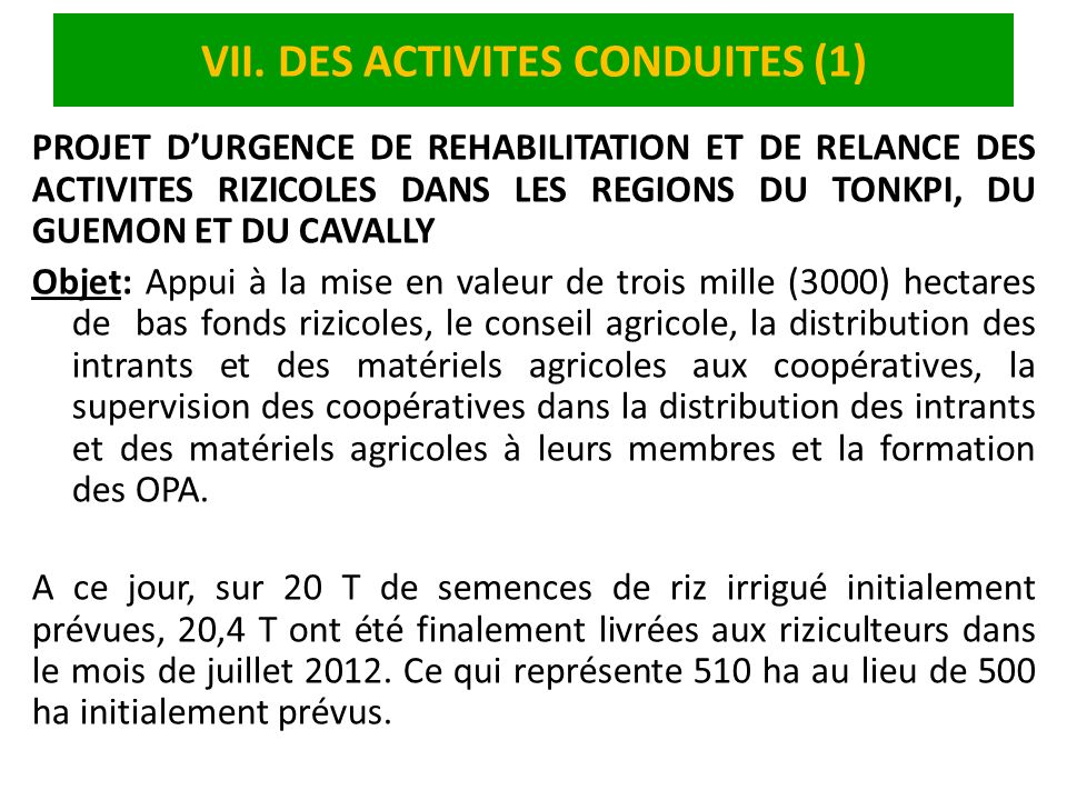 VII. DES ACTIVITES CONDUITES (1)