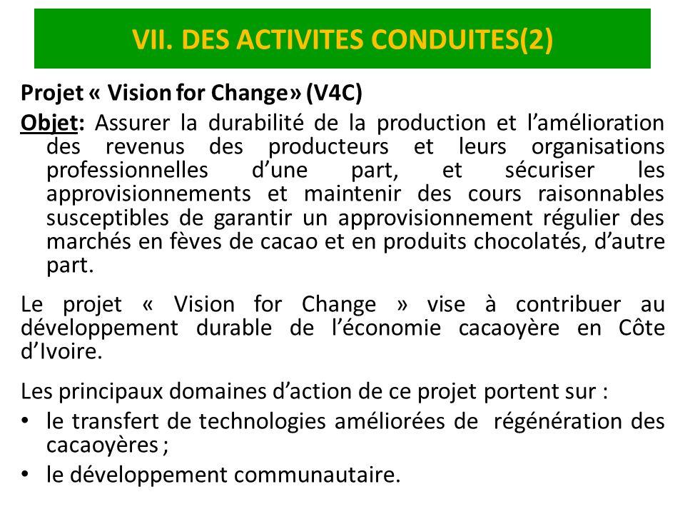 VII. DES ACTIVITES CONDUITES(2)