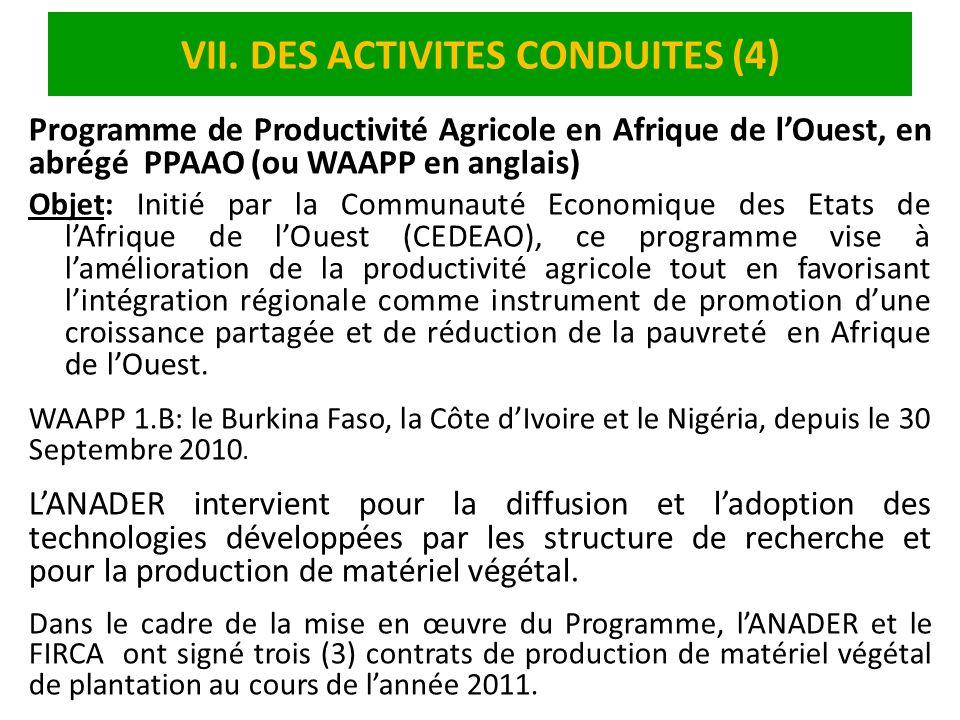VII. DES ACTIVITES CONDUITES (4)