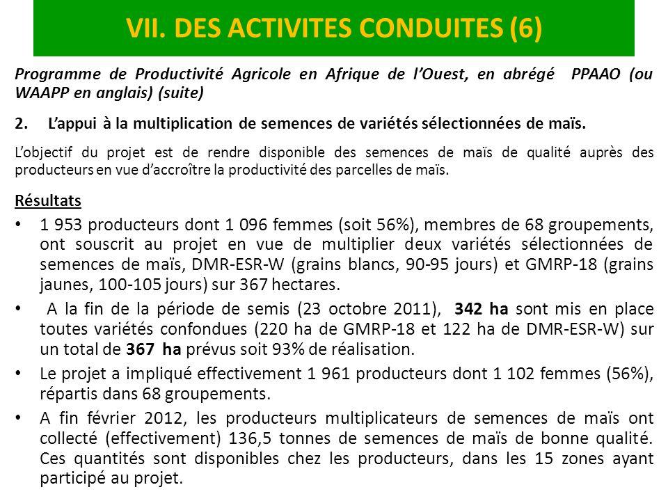 VII. DES ACTIVITES CONDUITES (6)