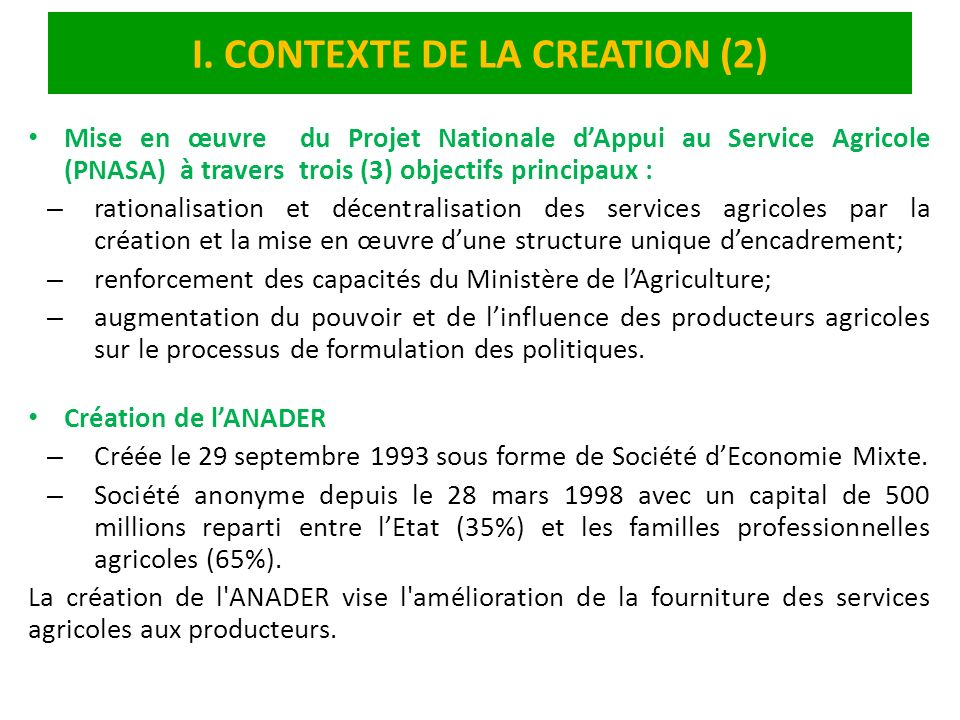 I. CONTEXTE DE LA CREATION (2)