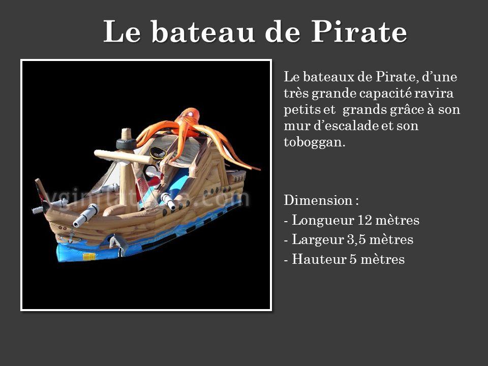 Le bateau de Pirate Le bateaux de Pirate, d'une très grande capacité ravira petits et grands grâce à son mur d'escalade et son toboggan.