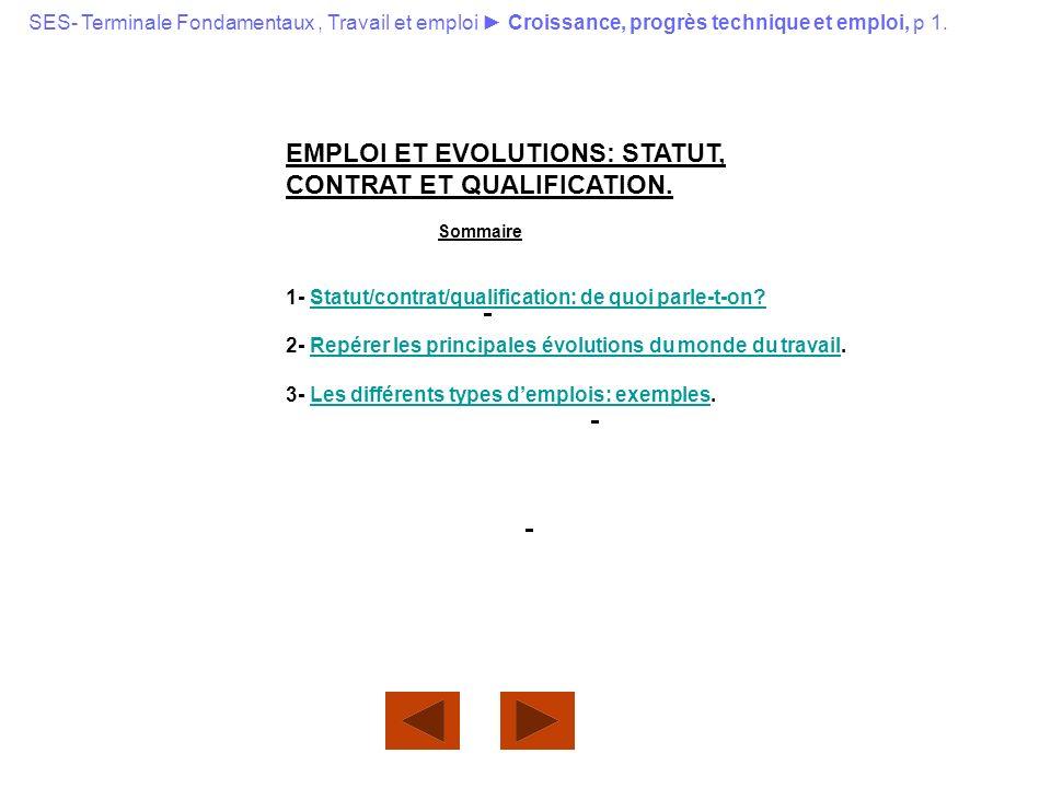 EMPLOI ET EVOLUTIONS: STATUT, CONTRAT ET QUALIFICATION.