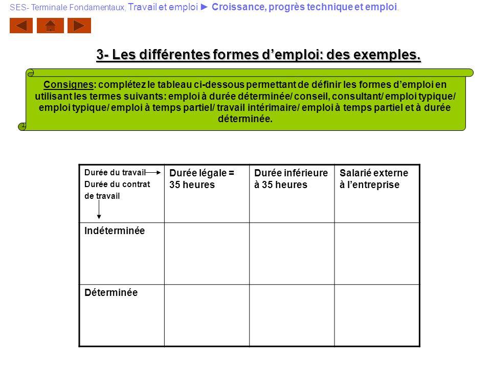 3- Les différentes formes d'emploi: des exemples.