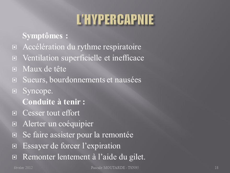 L'HYPERCAPNIE Symptômes : Accélération du rythme respiratoire
