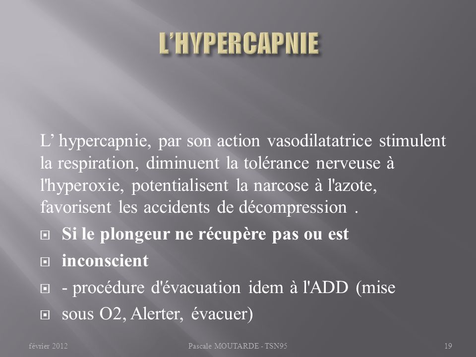L'HYPERCAPNIE