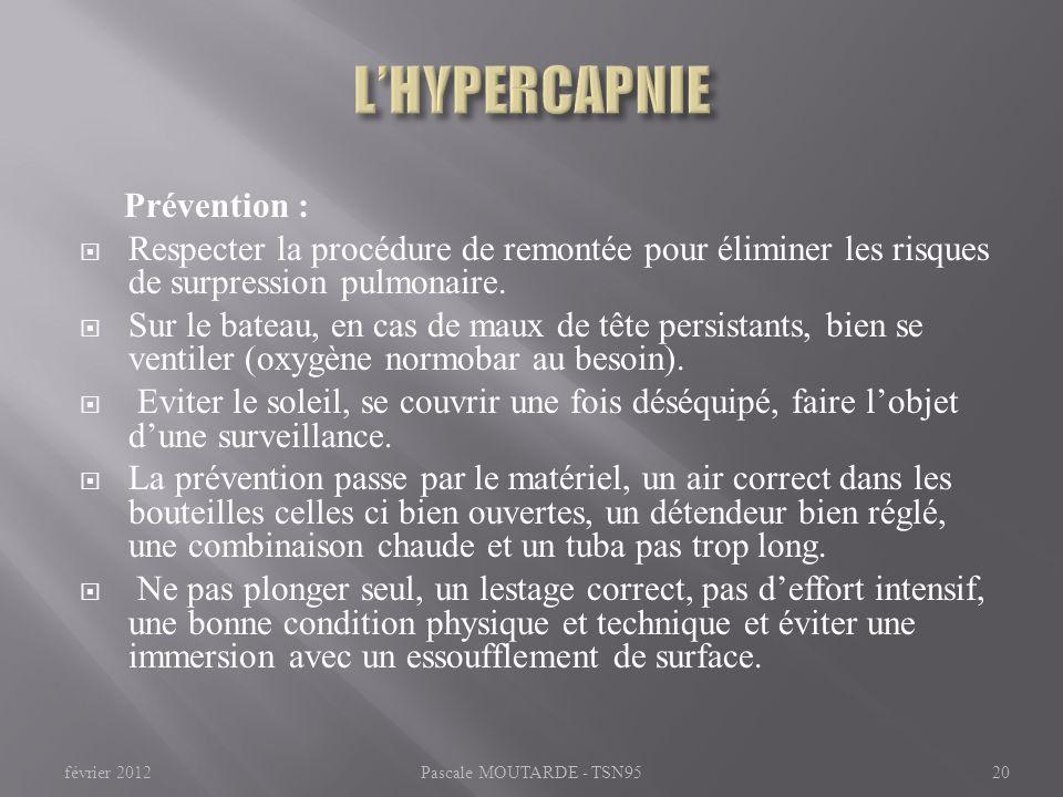 L'HYPERCAPNIE Prévention :