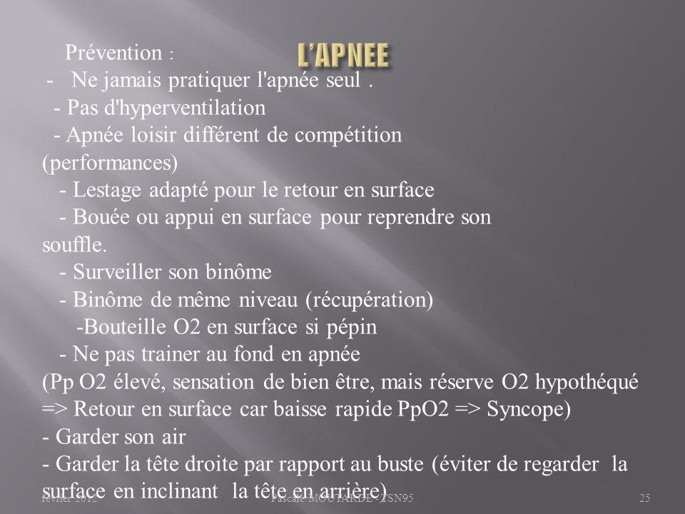 L'APNEE Prévention : - Pas d hyperventilation
