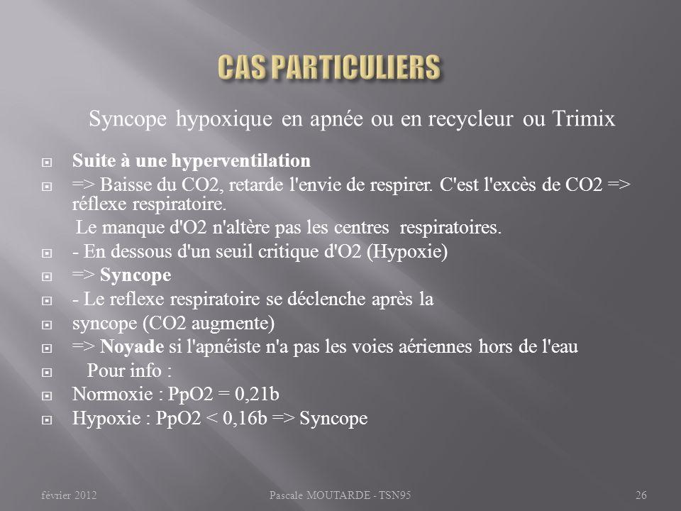 CAS PARTICULIERS Syncope hypoxique en apnée ou en recycleur ou Trimix